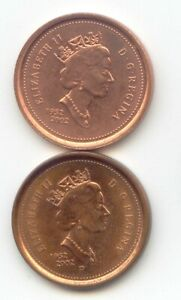CANADA  1952 2002   2002 P ONE CENT CANADIAN PENNIES PENNY SET 1C 2 COINS
