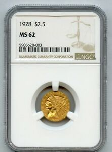 1928 $2.5 INDIAN HEAD NGC MS 62