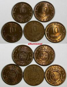 MOZAMBIQUE BRONZE LOT OF 5 COINS 1960 1961 10 CENTAVOS HIGH GRADE KM 83  17954
