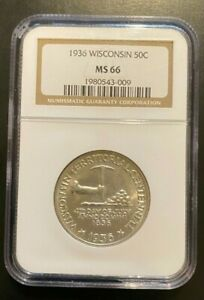 1936 MS66 WISCONSIN COMMEMORATIVE HALF DOLLAR  NGC CERTIFIED