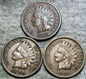 1882 1896 1908 INDIAN CENT PENNY      NICE DETAILS LOT      G225