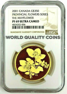Click now to see the BUY IT NOW Price! CANADA 2001 GOLD $350 PROVINCIAL FLOWERS SERIES MAYFLOWER NGC PF69 LOW MINTAGE