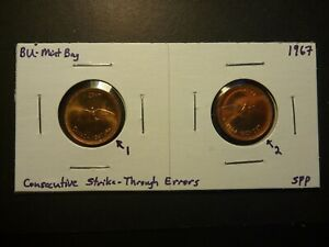 Click now to see the BUY IT NOW Price! ERROR   PAIR OF CANADA BU 1967 CENTS WITH CONSECUTIVE STRIKE THROUGH ERRORS