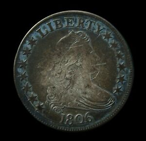 1806 DRAPED BUST HALF DOLLAR F  DETAILS MONSTER ORIGINAL TONES & DIE CRACK