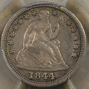 1844 SEATED LIBERTY DIME 10C PCGS CERTIFIED XF40 LITTLE ORPHAN ANNIE THERE ARE A