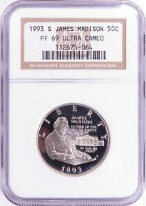 1993 S JAMES MADISON COMMEMORATIVE HALF DOLLAR NGC PF69 ULTRA CAMEO LF0715A/JH
