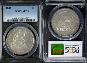 1842 SEATED LIBERTY $1 DOLLAR PCGS AU55 LUSTROUS PERFECT FOR TYPE