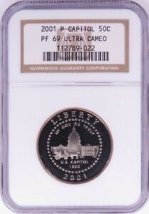 2001 P CAPITOL VISITOR CENTER COMMEM. HALF DOLLAR NGC PF69 ULTRACAMEO LF0728A/JH