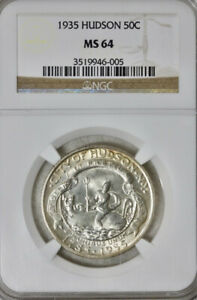 1935 HUDSON 50C SILVER COMMEMORATIVE NGC MS 64