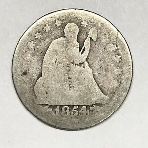1854 ARROWS SEATED LIBERTY QUARTER