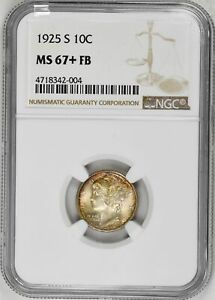 Click now to see the BUY IT NOW Price! 1925 S 10C MERCURY DIME NGC MS67 FB ORIGINAL GOLD TONING SILVER  COIN RAR