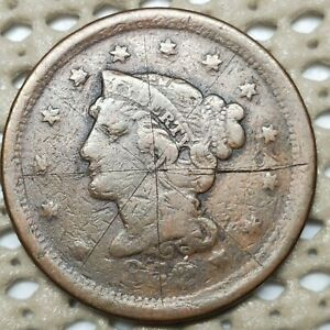 1852 BRAIDED HAIR 1 COPPER LARGE CENT