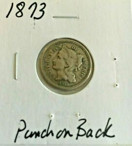 1873 3 CENT NICKEL PUNCH ON BACK