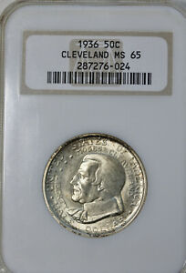 1936 CLEVELAND COMMEMORATIVE HALF DOLLAR NGC MS 65