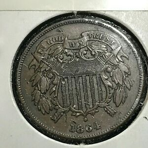 1864 TWO CENT TYPE COIN  HIGHER GRADE COIN