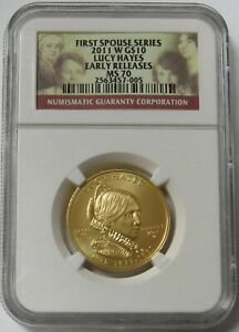 2011 W GOLD $10 JULIA GRANT 1/2OZ SPOUSE 2 892 MINTED NGC MINT STATE 70 ER