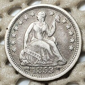 1853 ARROWS SILVER LIBERTY SEATED 5 HALF DIME EARLY TYPE