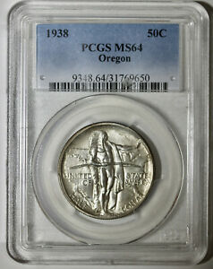 1938 OREGON TRAIL COMMEMORATIVE HALF DOLLAR   PCGS MS 64