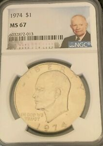 Click now to see the BUY IT NOW Price! 1974 EISENHOWER $1 NGC CERTIFIED MS 67 TOP POP 1 OF 2