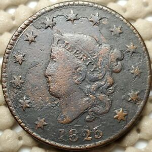 1825 CORONET HEAD LARGE CENT COPPER 1 COIN COPPER  10.89 G  28.5 MM KM 45.1