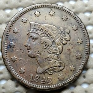 1843 BRAIDED HAIR LARGE CENT COPPER 1 COIN COPPER  10.89 G  27.5 MM KM 67