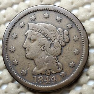 1844 BRAIDED HAIR LARGE CENT COPPER 1 COIN COPPER  10.89 G  27.5 MM KM 67