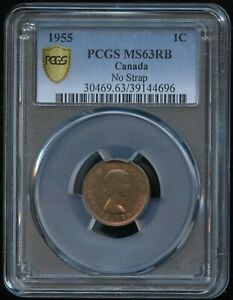 Click now to see the BUY IT NOW Price! 1955 ONE CENT   NO SHOULDER STRAP   PCGS MS63 RED & BROWN