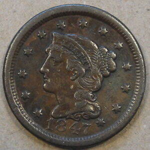 1847 BRAIDED HAIR LARGE CENT MID BETTER GRADE COIN