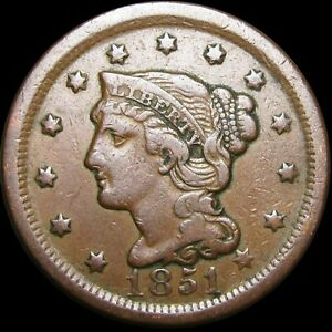 1851 BRAIDED HAIR LARGE CENT PENNY      NICE TYPE COIN      H420
