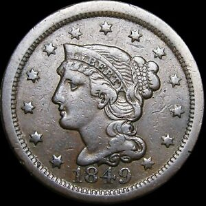 1849 BRAIDED HAIR LARGE CENT PENNY      NICE TYPE COIN      H426