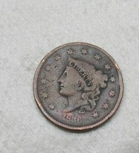 1836 CORONET HEAD US LARGE CENT ONE PENNY COIN