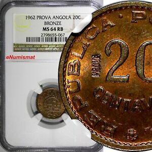 Click now to see the BUY IT NOW Price! ANGOLA BRONZE 1962 20 CENTAVOS PROVA ESSAY NGC MS64 RB TOP GRADED KM PR58  067