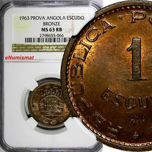 Click now to see the BUY IT NOW Price! ANGOLA BRONZE 1963 1 ESCUDO PROVA ESSAY NGC MS63 RB TOP GRADED KM PR61  066