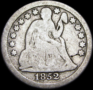1852/52 SEATED LIBERTY DIME ERROR BREEN 3274 AHWASH 4 REPUNCHED DATE Z567
