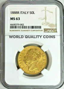 Click now to see the BUY IT NOW Price! VERY  1888 ITALY GOLD COIN 50 LIRE NGC MS63 KING UMBERTO I MINTAGE 2 125 ROM