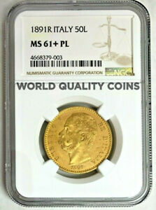 Click now to see the BUY IT NOW Price! VERY  1891 ITALY GOLD COIN 50 LIRE NGC MS61 KING UMBERTO I MINTAGE 414 ROM