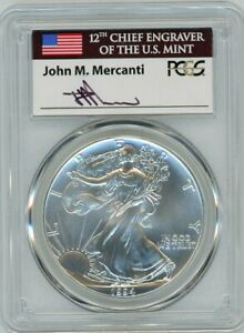 Click now to see the BUY IT NOW Price! 1994 $1 1 OZ SILVER EAGLE MS70 PCGS JOHN MERCANTI FLAG