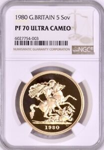 Click now to see the BUY IT NOW Price! 1980 GOLD PROOF FIVE POUNDS  5 5 SOVEREIGN  NGC TOP GRADED PF70 ULTRA CAMEO.