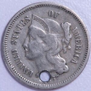 1867 THREE CENT NICKEL HOLED RAW3171/JB