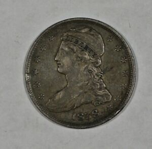 1838 50C REEDED EDGE CAPPED BUST HALF DOLLAR XF DETAILS