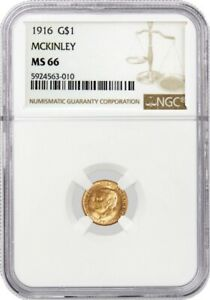 1916 $1 MCKINLEY MEMORIAL COMMEMORATIVE GOLD DOLLAR NGC MS66 UNCIRCULATED COIN