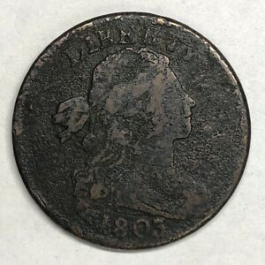1803 DRAPED BUST CENT S 255 SMALL DATE AND FRACTION TERMINAL DIE STATE TDS CUD