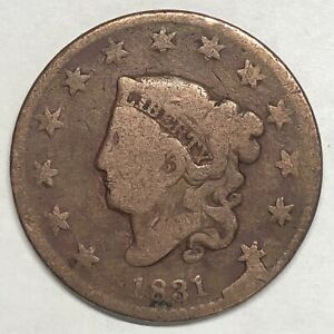 1831 CORONET LARGE CENT N 12 TWO STAR CUD DOUBLE PROFILE PRE   HARPOONED WHALE