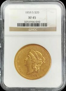 1858 S GOLD UNITED STATES $20 LIBERTY DOUBLE EAGLE TYPE 1 COIN NGC XF 45