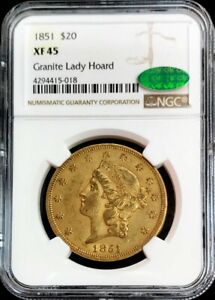 1851 GOLD US $20 LIBERTY DOUBLE EAGLE GRANITE LADY HOARD TYPE 1 NGC XF 45 CAC