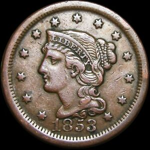 1853 BRAIDED HAIR LARGE CENT PENNY ERROR DATE ?      NICE TYPE COIN      H412
