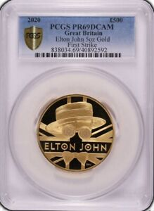 Click now to see the BUY IT NOW Price! 2020 GOLD PROOF ELTON JOHN 500  5OZ  PCGS PR69 DEEP CAMEO. ROYAL MINT BOX & COA