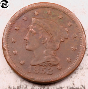 1853 BRAIDED HAIR LARGE CENT // VF  DETAILS  //  LC453