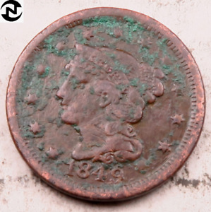 1849 BRAIDED HAIR LARGE CENT // VF  DETAILS  //  LC441
