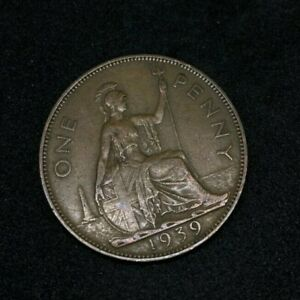 1939 BRITAIN ENGLAND BRITISH ENGLISH LARGE CENT PENNY OLD MONEY KING GEORGE V A